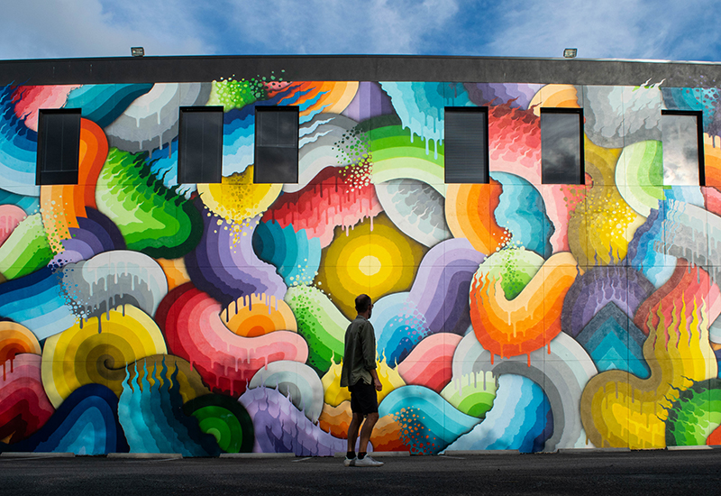 Space rainbows mural