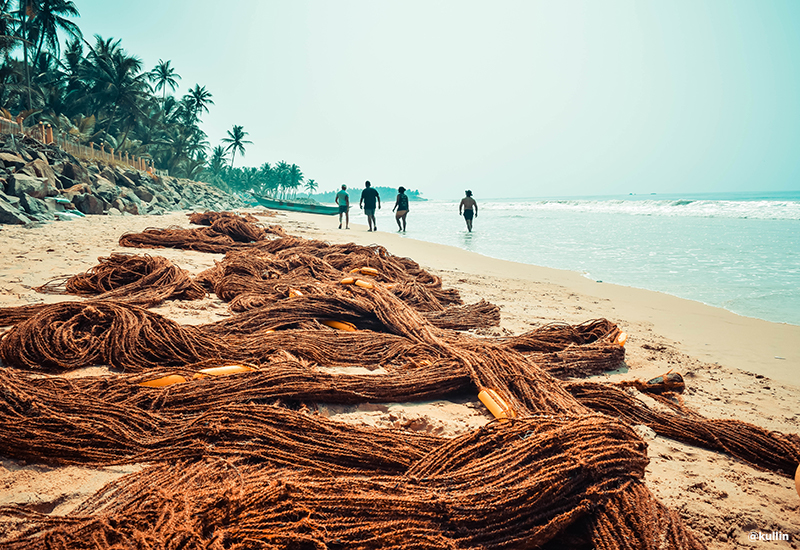 fishing nets Sri Lanka beach