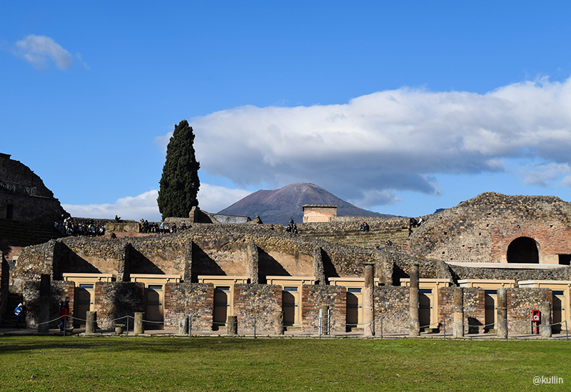 Pompeii with Vesuvius in the background